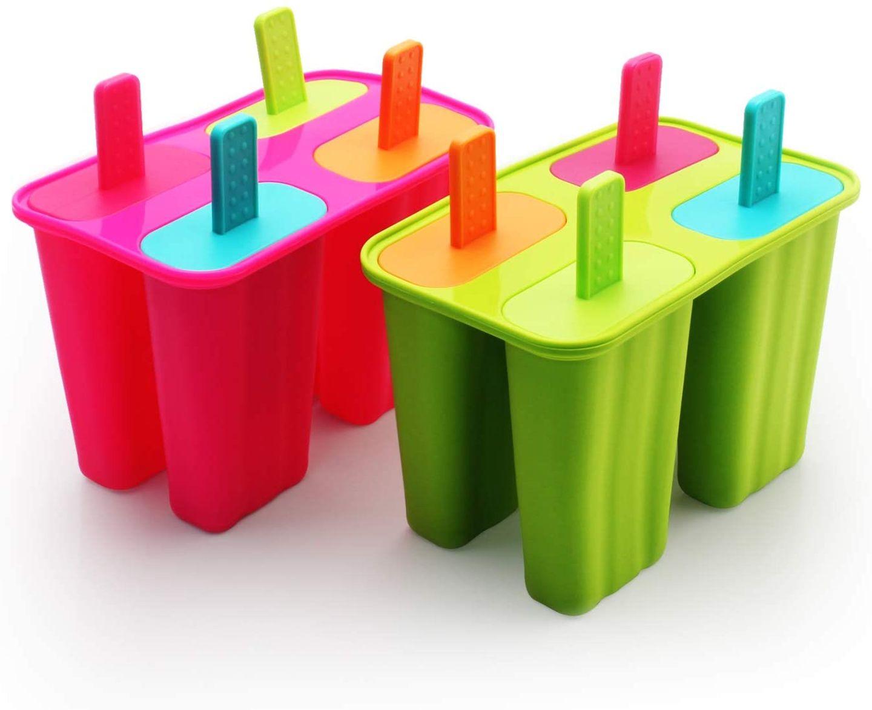 Eiszubehoer: Bunte Eis-am-Stiel-Formen aus Silikon
