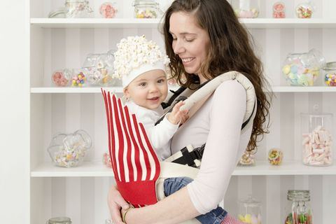 Popcorn-Kostüm für Babys zum selbermachen.