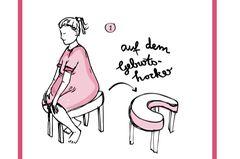 Auf dem Geburtshocker Ein Geburtshocker ist heute in jedem Kreisssaal zu finden. Der Vorteil: Die Schwerkraft arbeitet mit. Das Gewicht des Babys drückt nach unten, also in Richtung des Geburtskanals. Viele Frauen empfinden in dieser Position weniger Geburtsschmerzen. Besonders schön: Da der Geburtshocker keine Rückenlehne hat, kann der werdende Vater hinter Ihnen Platz nehmen und Sie stützen.