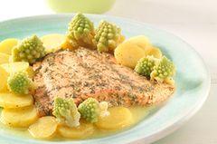 Lauwarmer Kartoffelsalat mit Lachs