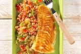 Paprika-Couscous mit Fischfilet