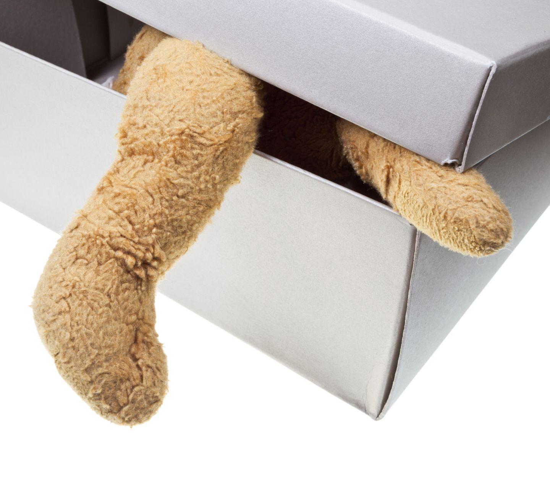 Teddybär in Schachtel