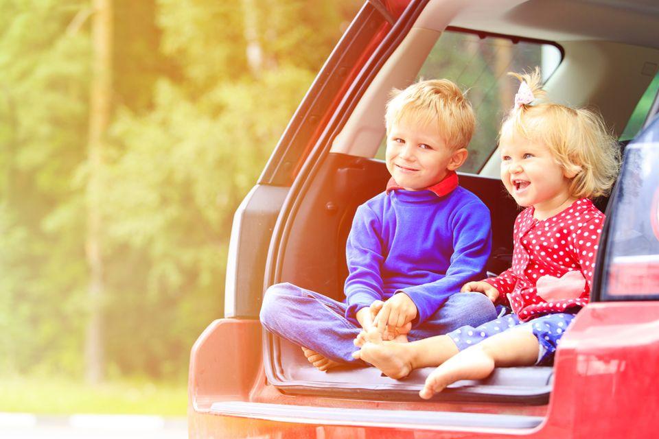 Kinder auf der Auto-Ladefläche