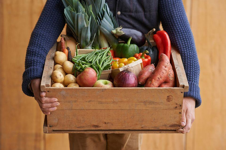 Kiste voll Obst und Gemüse