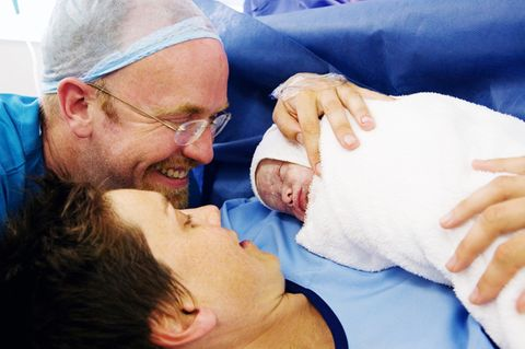 Eltern bei Kaiserschnitt