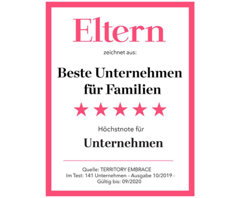 98 Unternehmen bekamen von ELTERN und TERRITORY Embrace vier oder fünf Sterne.
