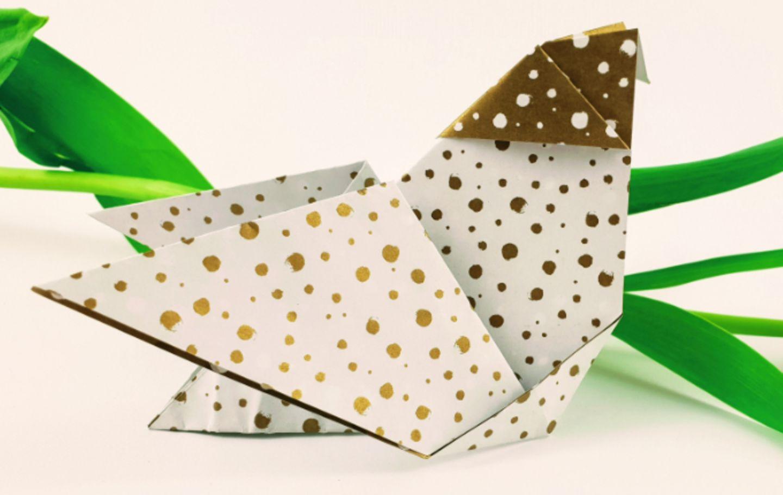 Milchtropfen: Origami Huhn basteln