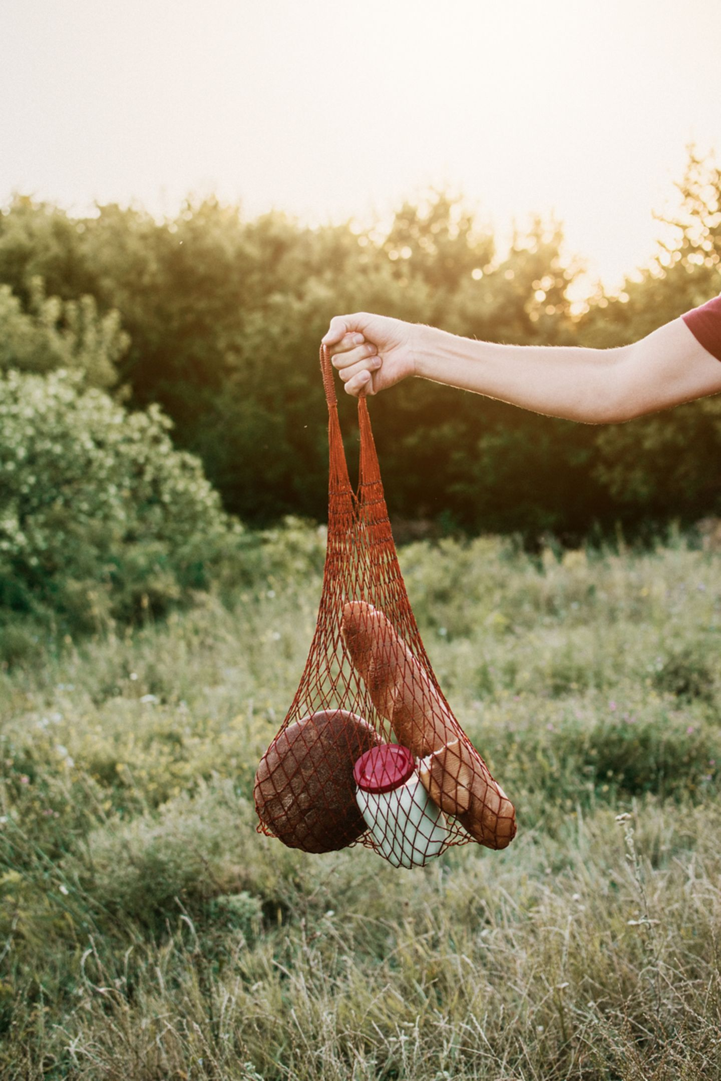 Rotes Einkaufsnetz in der Natur