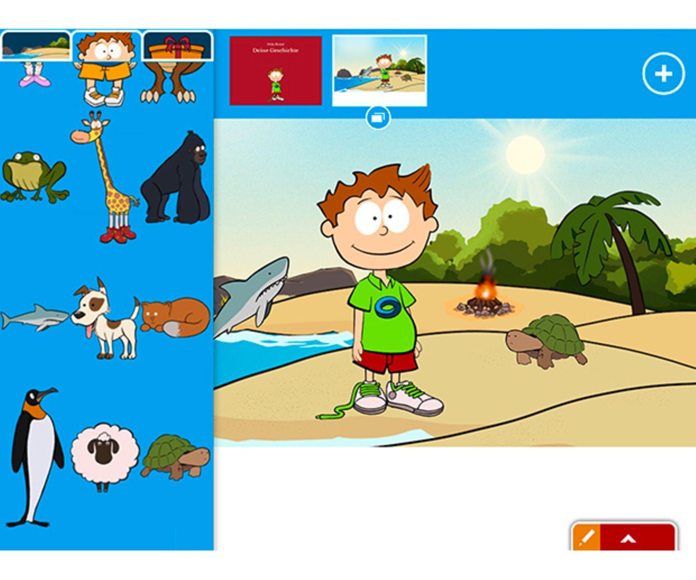 Knietzsches Geschichtenwerkstatt   Kinder lieben Geschichten, und sie erfinden gern selbst welche. Das können sie nun gemeinsam mit Knietzsche tun. Der umfangreiche Geschichteneditor hält zahlreiche Hintergründe, Figuren und Objekte parat, die per Drag & Drop platziert und vergrößert, verkleinert oder gespiegelt werden können. Den Text liefern die Kinder dann selbst. So können durchaus komplexe Bildergeschichten   entstehen. Die werden als PDF exportiert, verschickt oder ausgedruckt. Und wie aufregend ist es, wenn Kinder das eigene Werk dann im Familienkreis präsentieren! Eine tolle App für junge Geschichtenerzähler.   iOS, Android & Windows, SWR, kostenlos