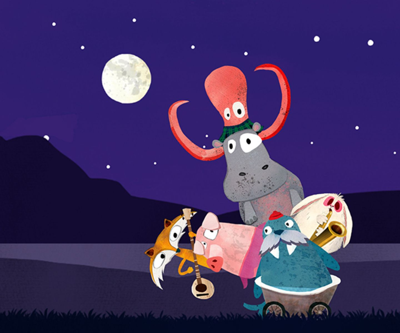 BandDings   Walross Rosi liebt Musik und will unbedingt eine eigene Band zusammenstellen. In ihrem skurrilen Badewannengefährt rollt sie durch Dschungel, Wälder und Städte – immer auf der Suche nach den passenden Mitspielern. Überall verstecken sich Tiere mit ihren ganz eigenen musikalischen Fähigkeiten und Instrumenten. Die Giraffe mit ihrer Posaune finden die Kinder hinter dem Auto, der Pinguin, der ganz fantastisch mit seinen Flügeln klappern kann, hockt im Gebüsch – und die Katze mit ihrer Schnurrbartgeige sitzt auf der Palme. Allesamt finden sie Platz auf Rosis Rücken, gestapelt nach dem Vorbild der Bremer Stadtmusikanten. Ist die Band komplett, geht's zum Konzert. Das können die Kinder nach ihrer eigenen Vorstellung gestalten. Mit bunten Scheinwerfern, Konfettikanonen oder mit dem Geschwindigkeitsregler, der die Musik mal schnell, mal gaaanz langsam abspielen lässt. Ein Foto des Auftritts sorgt dafür, dass dieses Lied immer wieder abgerufen werden kann. Hier stimmt einfach alles: künstlerisch wertvolle und zugleich auch für kleine Kinder witzige Illustrationen, intuitive Spielführung, hohe musikalische Qualität. BandDings fördert Entdeckerfreude, Kreativität und musikalisches Verständnis. Und ist einfach ungeheuer lustig.   iOS, doDings, 2,99 Euro
