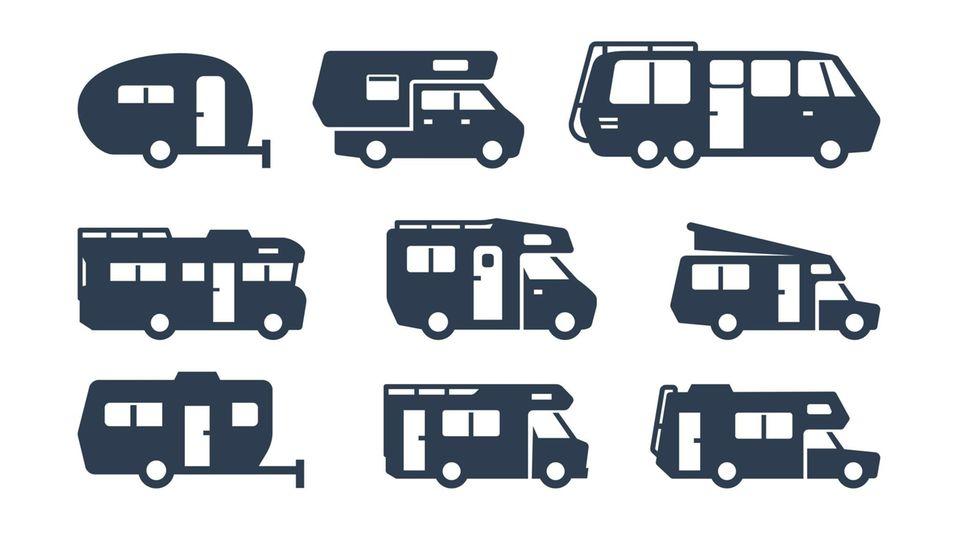 Verschiedene Wohnmobiltypen