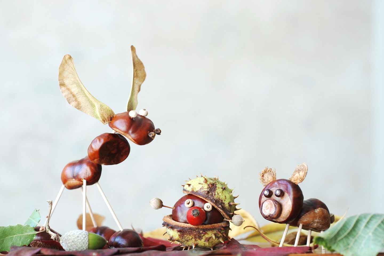 Basteln mit Kastanien: Kastanienfiguren