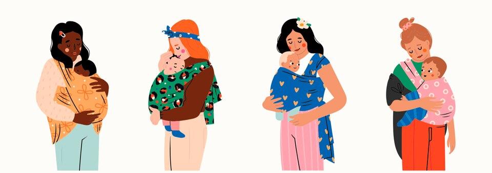 Parenting Index: Illustration von Frauen mit Kindern in Tragetüchern