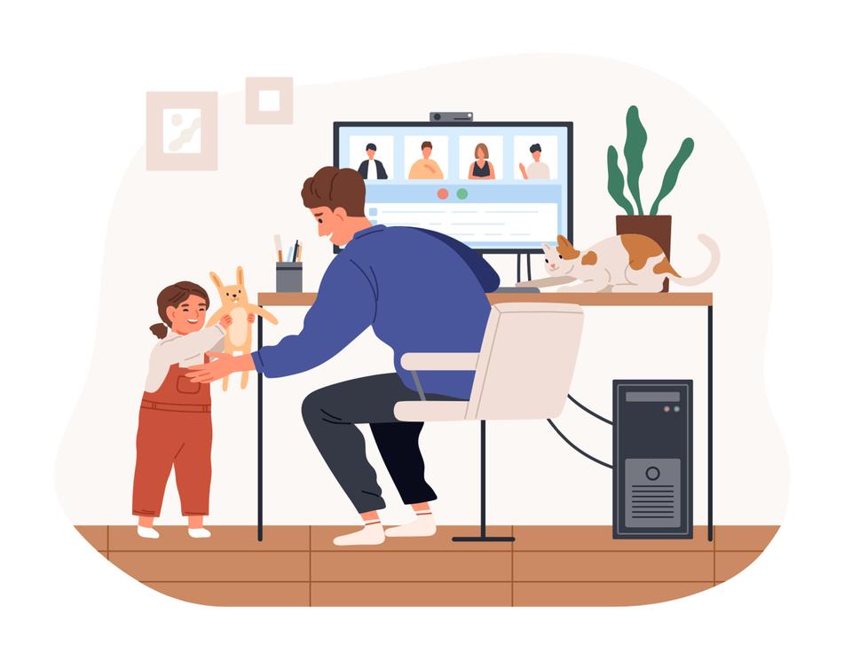 Parenting Index: Illustration von Vater im Homeoffice mit Tochter